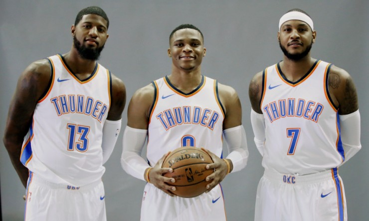 Paul George, Russell Westbrook, Carmelo Anthony